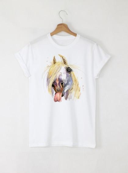 Aquarelle Horse Дамска бяла тениска с дизайнерски принт