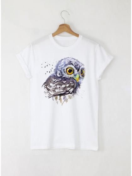 Aquarelle Owl Дамска бяла тениска с дизайнерски принт