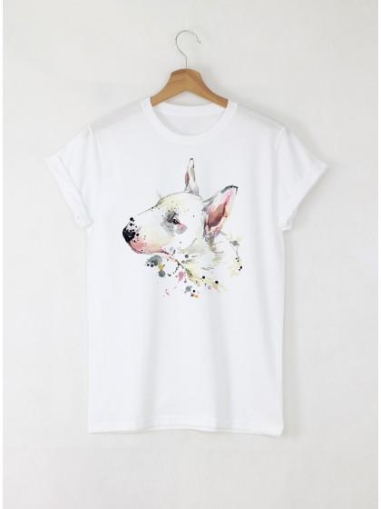 Aquarelle Bull Terrier Дамска бяла тениска с дизайнерски принт