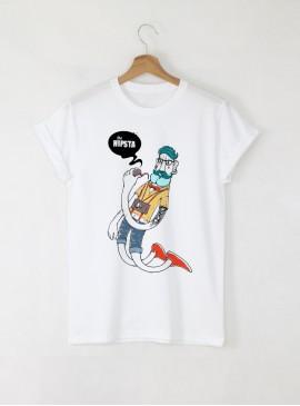 Hipster Hip Мъжка Бяла Тениска с Дизайнерски Принт