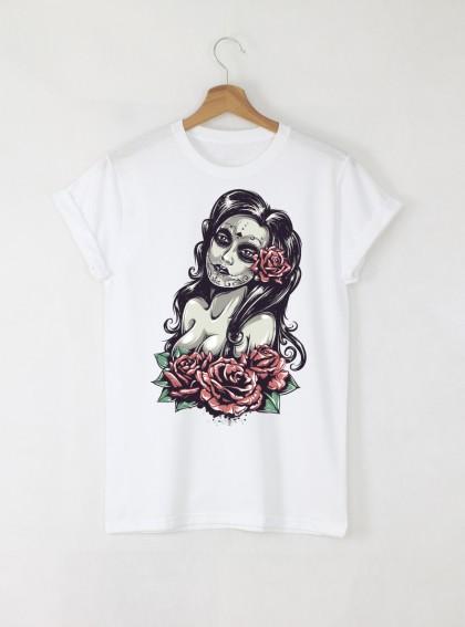 Dead Girl  Мъжка Бяла Тениска с Дизайнерски Принт