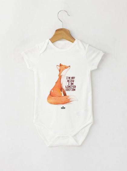 Fox I AM Бебешко бяло Боди с дизайнерски принт