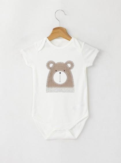 Bear Бебешко бяло Боди с дизайнерски принт