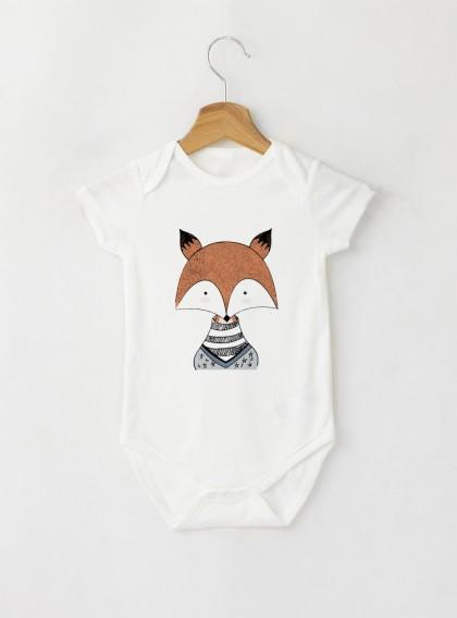 FOX Бебешко бяло Боди с дизайнерски принт