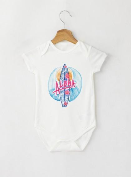 Aloha Surf Бебешко бяло Боди с дизайнерски принт