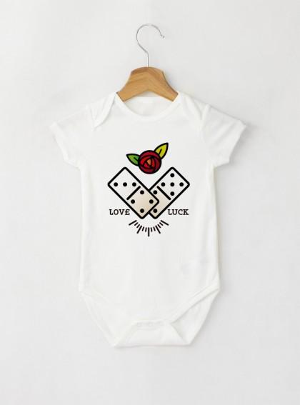 Flat Domino Art Бебешко бяло Боди с дизайнерски принт