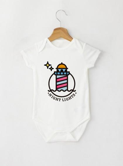 Flat Lighthouse Art  Бебешко бяло Боди с дизайнерски принт