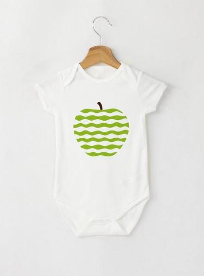 Apple Green Art Бебешко бяло Боди с дизайнерски принт