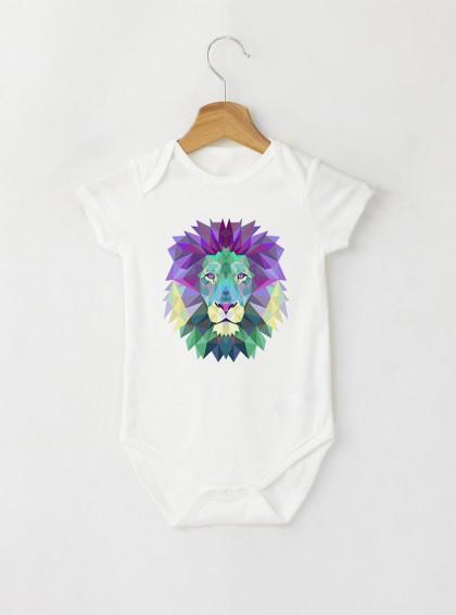 Colorful Lion Бебешко бяло Боди с дизайнерски принт