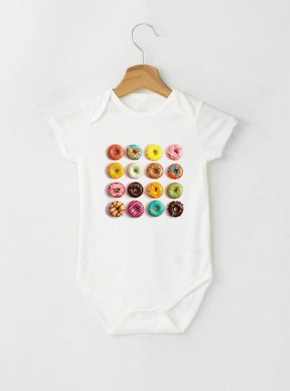 Donuts Colorful Бебешко бяло Боди с дизайнерски принт