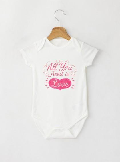 All you need Бебешко бяло Боди с дизайнерски принт
