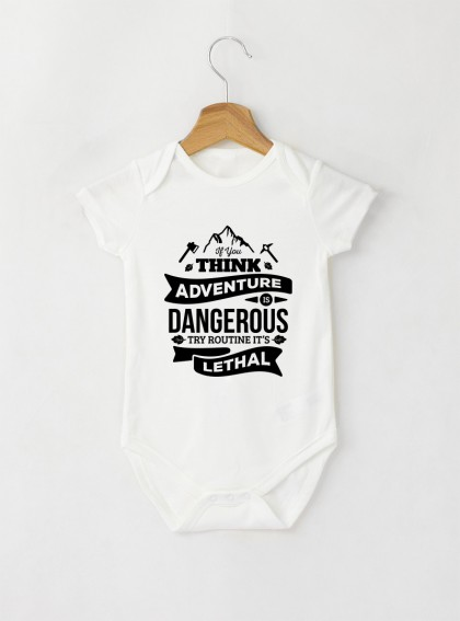 Adventure Бебешко бяло Боди с дизайнерски принт