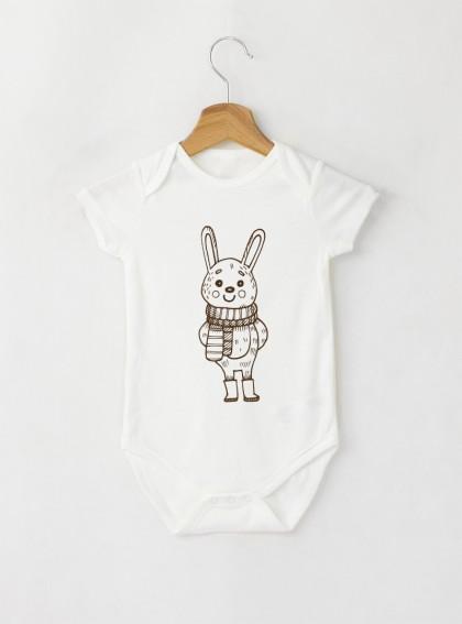 Bunny Graphic Бебешко бяло Боди с дизайнерски принт