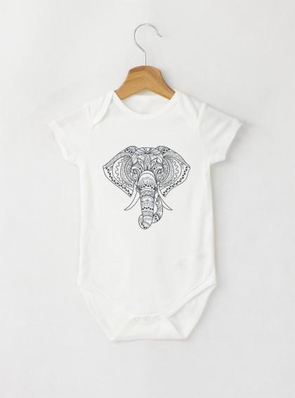 Elephant Mandala Бебешко бяло Боди с дизайнерски принт