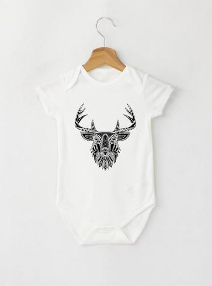 Deer Mandala Бебешко бяло Боди с дизайнерски принт