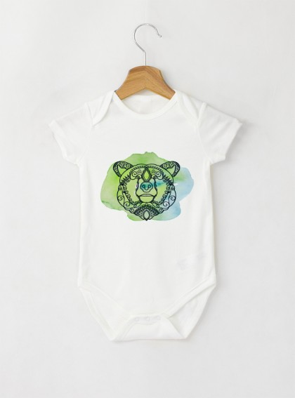 Bear Mandala Бебешко бяло Боди с дизайнерски принт