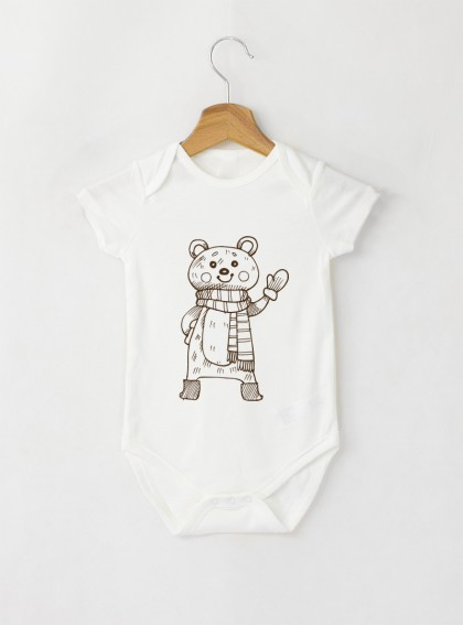 Bear Graphic Бебешко бяло Боди с дизайнерски принт