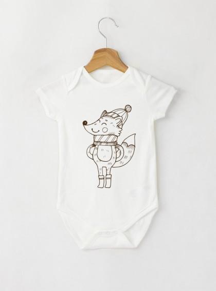Fox Graphic Бебешко бяло Боди с дизайнерски принт