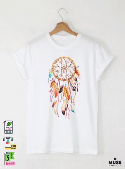 Dreamcatcher Акварел Детска Бяла Тениска За Момче С Дизайнерски Принт
