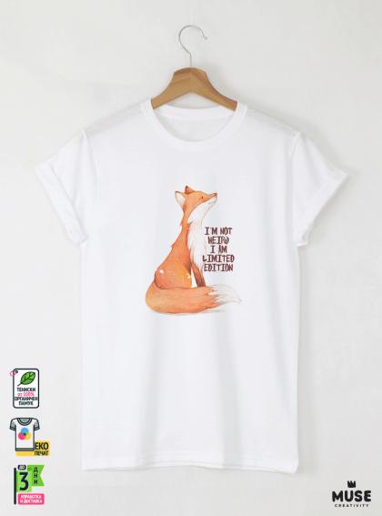 Fox I AM Детска Бяла Тениска за Момче с Дизайнерски принт