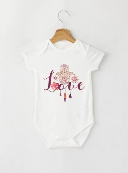 Fatima Love Aquarellе - Бебешко бяло Боди с дизайнерски принт