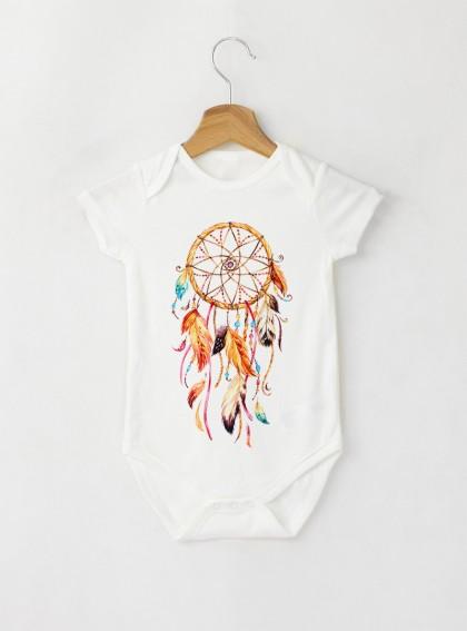 Dreamcatcher Aquarellе - Бебешко бяло Боди с дизайнерски принт