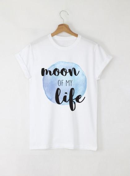 Moon of My Life мъжка бяла тениска с дизайнерски принт