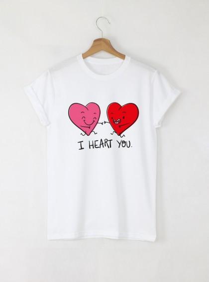 I heart you Дамска бяла тениска с дизайнерски принт
