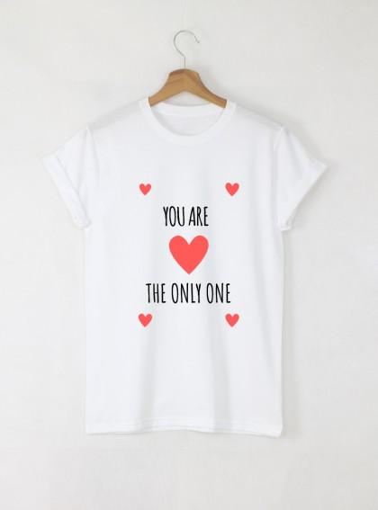 The Only One Дамска бяла тениска с дизайнерски принт