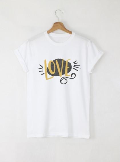 Love Gold Дамска бяла тениска с дизайнерски принт