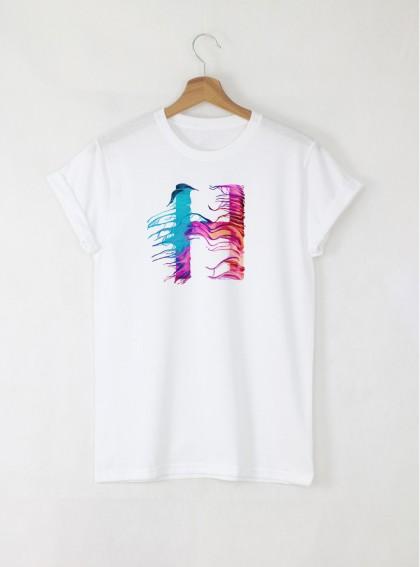 Мъжки Бели Тениска с Букви