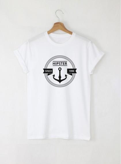 Sea Hipster мъжка бяла тениска с дизайнерски принт