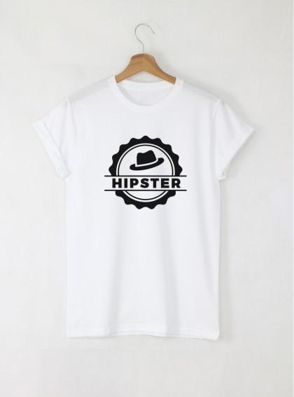 Hipsters head stamp мъжка бяла тениска с дизайнерски принт