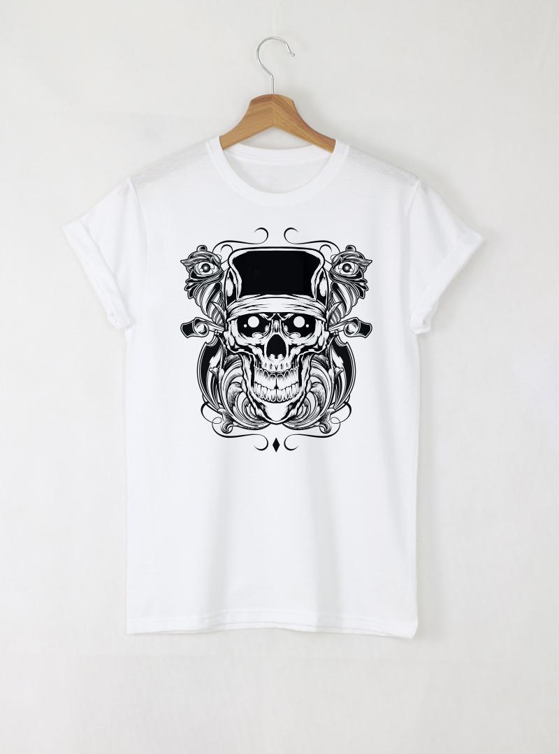 Skull Tattoo мъжка бяла тениска с дизайнерски принт череп