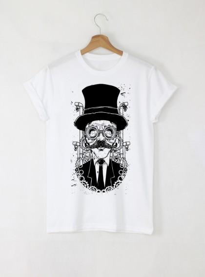 Watchmaker Мъжка бяла тениска с дизайнерски принт