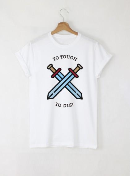 Flat To Die Art мъжка бяла тениска с дизайнерски принт