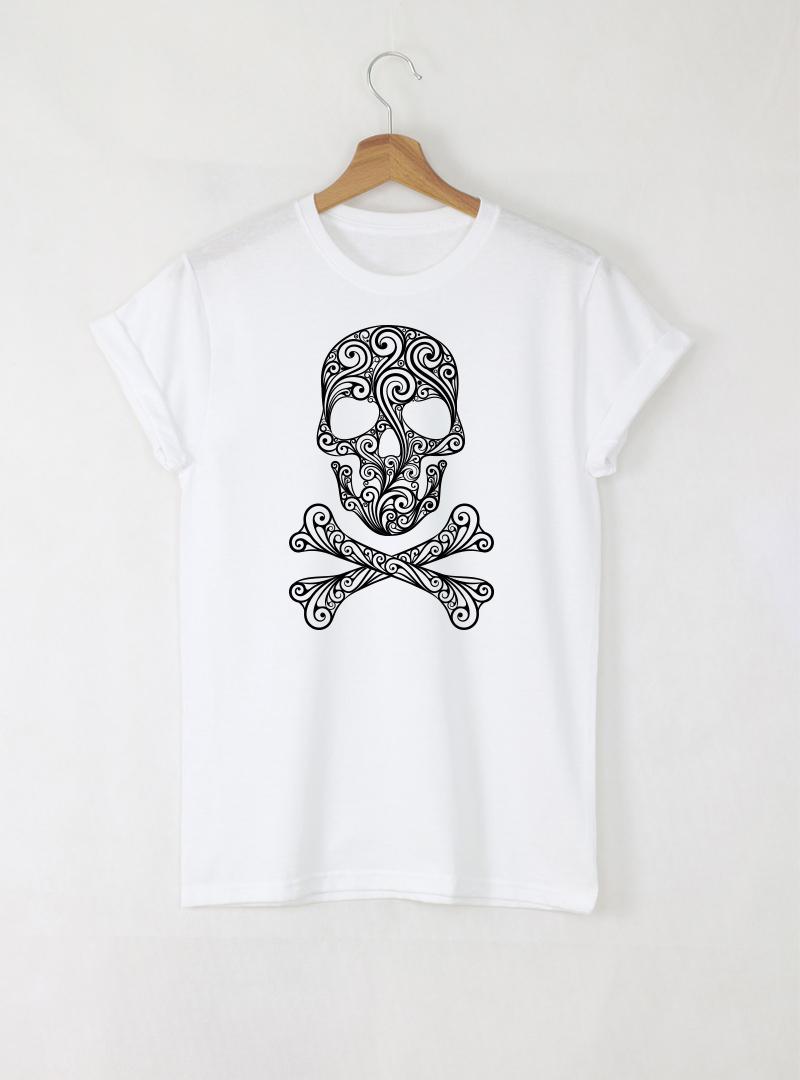 Skull Art Дамска бяла тениска с дизайнерски принт Азиатски размер