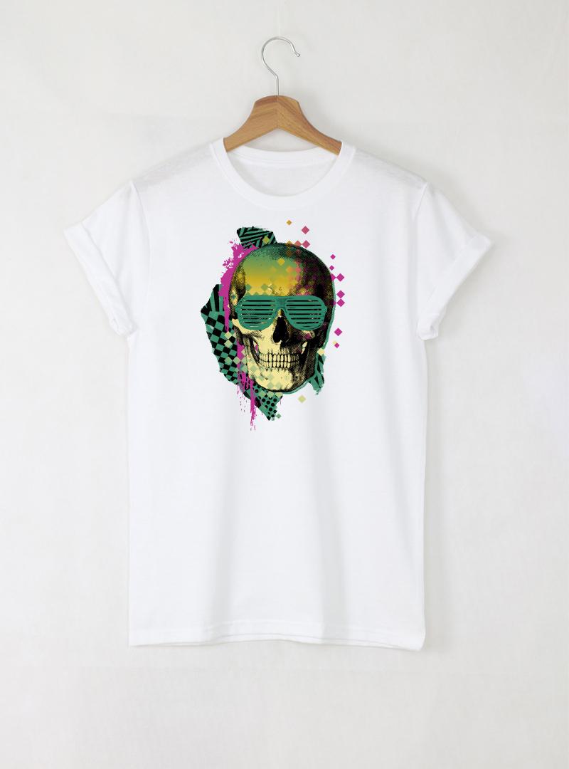 Skull Disco мъжка бяла тениска с дизайнерски принт