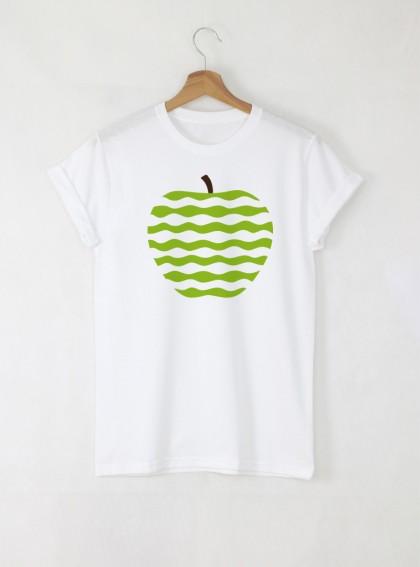 Apple Green Art Дамска бяла тениска с дизайнерски принт Азиатски Размер