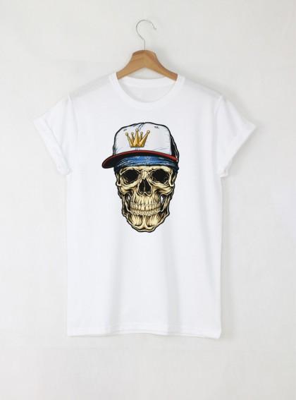 Hip-hop Skull Детска Бяла тениска за момче с дизайнерски принт