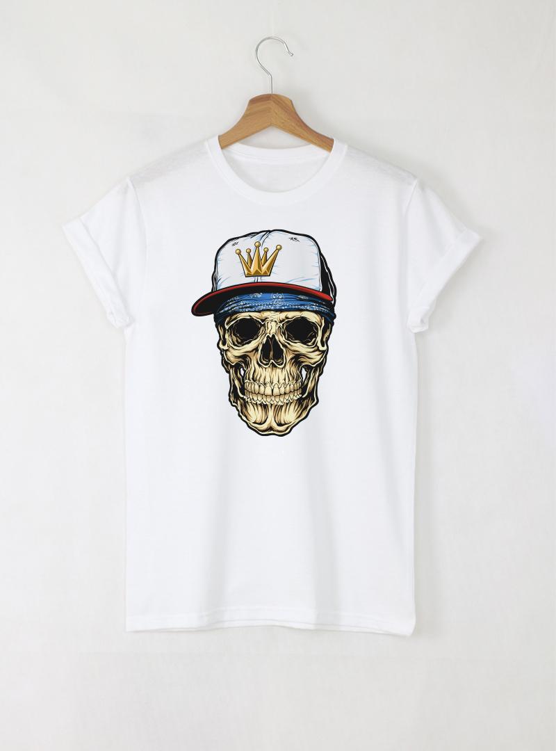 Hip-hop Skull Мъжка Бяла Тениска С Дизайнерски Принт Азиатски размер