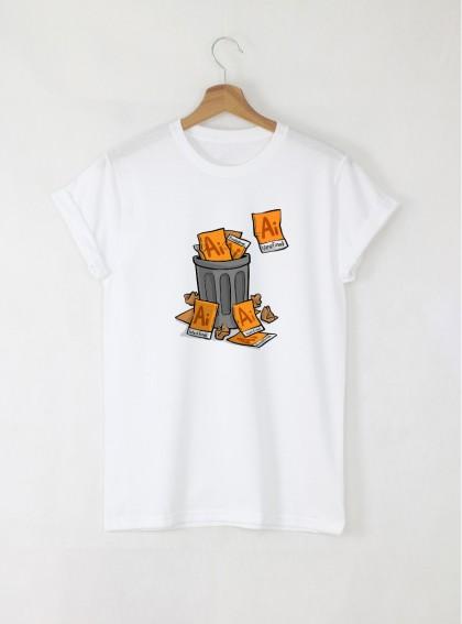 Illustrator junks дамска бяла тениска с дизайнерски принт