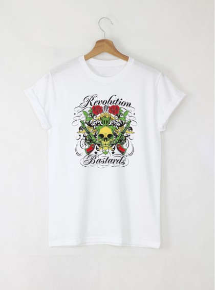 Skull Revolution Bastards Мъжка Бяла Тениска с Дизайнерски Принт