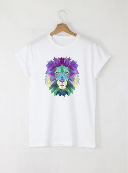 Colorful Lion дамска бяла тениска с дизайнерски принт