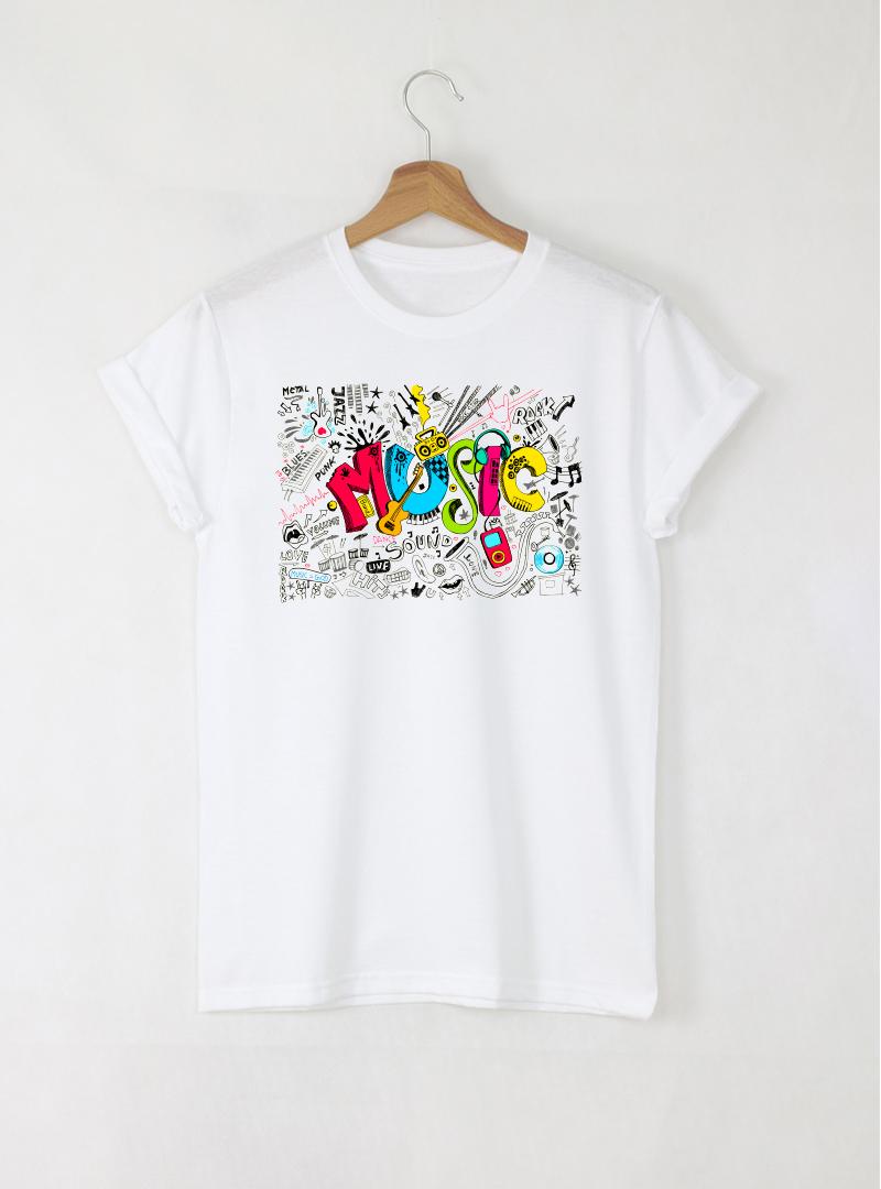 Music stamp мъжка бяла тениска с дизайнерски принт