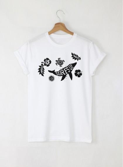Surf ocean мъжка бяла тениска с дизайнерски принт