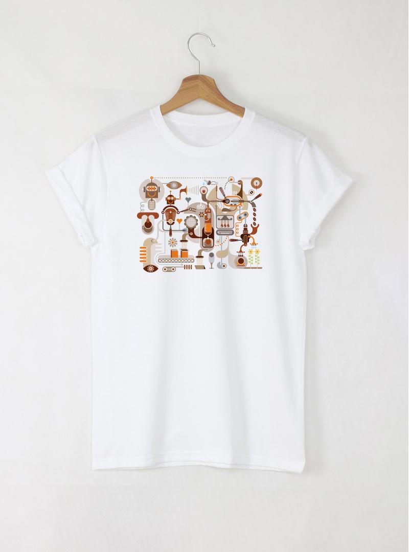 Robot мъжка бяла тениска с дизайнерски принт