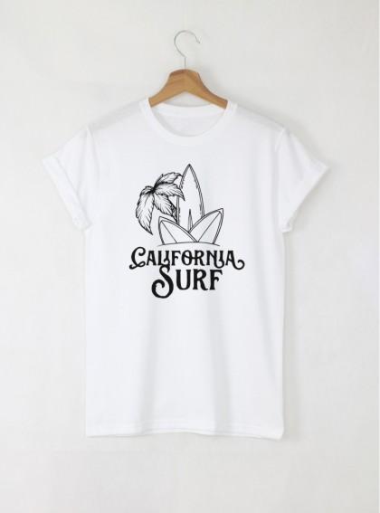Surf California мъжка бяла тениска с дизайнерски принт