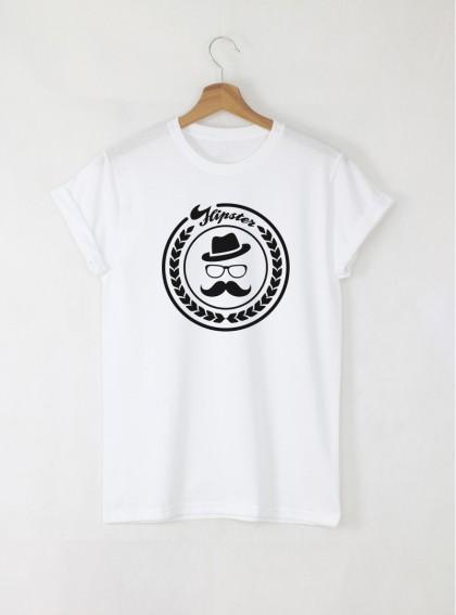 Hipster mustaches мъжка бяла тениска с дизайнерски принт