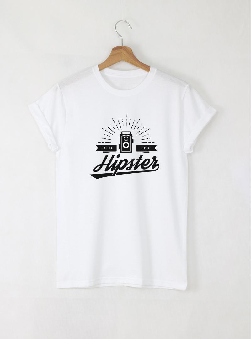 Hipster Photo мъжка бяла тениска с дизайнерски принт